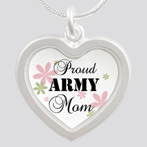 Army Mom [fl] Silver Heart Necklace